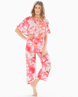 Natori N by Watercolor Pajama Set Sunkist Coral