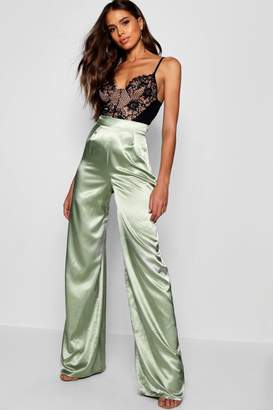 boohoo Tall Isabel Satin Wide Leg Trousers