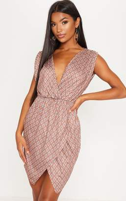 PrettyLittleThing Rust Sleeveless Wrap Tea Dress