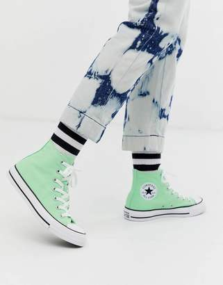 Converse chuck taylor all star hi washed fluro green trainers
