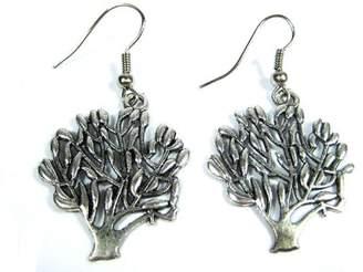 Hera Handmade Silver-Tone Art Antique Tree of Life Earrings