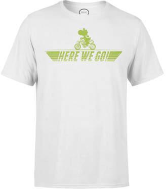 Nintendo Mario Kart Yoshi Here We Go Men's White T-Shirt