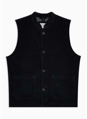 Selected Mens Blue Navy Corduroy Organic Cotton Waistcoat