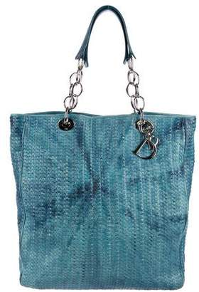 Christian Dior Woven Leather Tie-Dye Tote