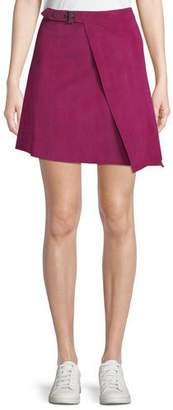 Theory Buckled Lamb Suede Wrap Skirt