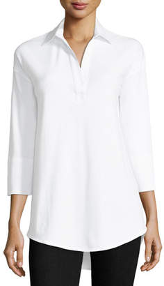 Joan Vass 3/4-Sleeve Collared Shirt, Plus Size