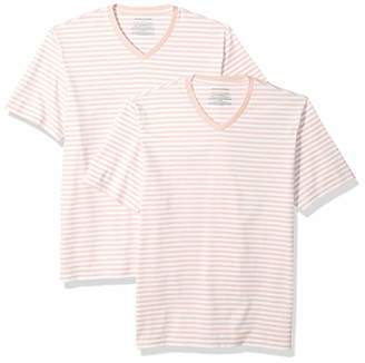 bbdf7bdad9 Amazon Essentials Men's Loose-Fit Short-Sleeve Stripe V-Neck T-Shirts