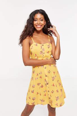 Ardene Yellow Floral Buttoned Cami Mini Sundress