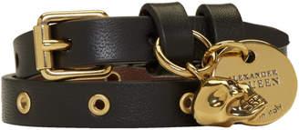 Alexander McQueen Black and Gold Skull Double Wrap Bracelet