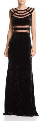 Aqua Mesh-Inset Crushed Velvet Gown - 100% Exclusive