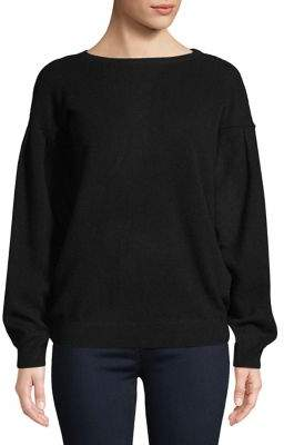Lord & Taylor Pleated Balloon-Sleeve Cashmere Sweater