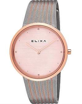 Elixa Beaut Stainless Steel & Pink Plated Watch