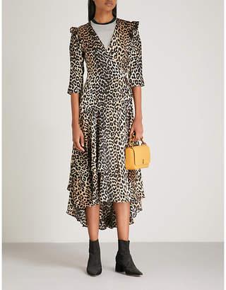 Ganni Calla leopard-print stretch-silk wrap dress
