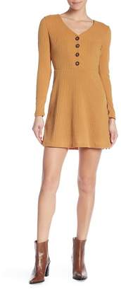 Lush Button Detail Ribbed Dress