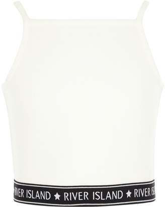 River Island Girls White rib RI hem cami crop top