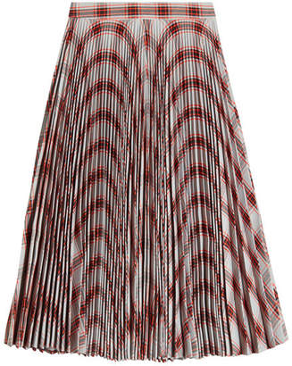 Calvin Klein Plaid Print Pleated Skirt