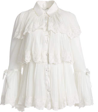 Alice + Olivia KARTWRIGHT PLEATED BUTTON DOWN