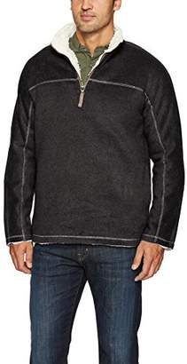 True Grit Men's Melange and Heather Fleece and Faux Fur 1/4 Zip Pullover