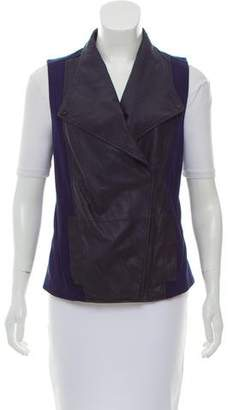 Vince Leather-Paneled Vest
