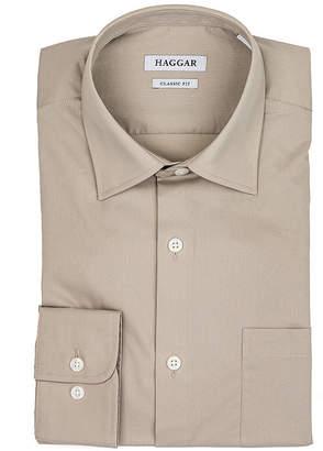 Haggar Long Sleeve Poplin Grid Dress Shirt