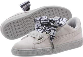 Suede Heart Plaid Women's Sneakers