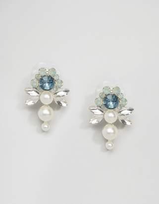 Johnny Loves Rosie Mint Flower Pearl Statement Earrings
