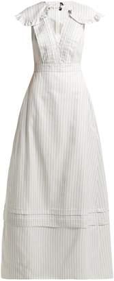 Calvin Klein Ruffled striped silk-blend gown