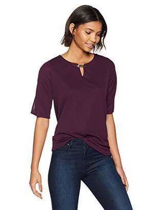 Calvin Klein Women's Slit Sleeve TOP with Hardware