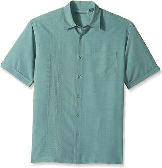 Cubavera Cuba Vera Men's Short Sleeve Rayon-Blend Cuban Camp Shirt with Block Panels