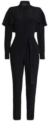 Vanessa Seward Cape-Effect Belted Silk Jumpsuit