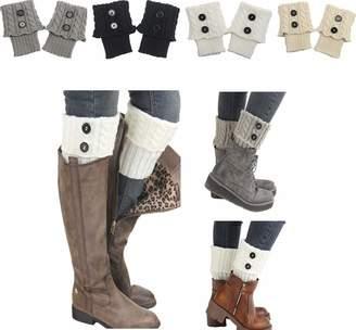 d32be052d Wellwear Women 4Pairs Winter Crochet Knit Leg Warmers Girls Boot Cuff Socks  Short Leg Warmer