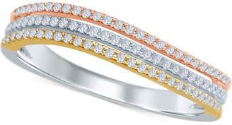 Macy's Diamond Tri-Color Band (1/4 ct. t.w.) in 14k Gold