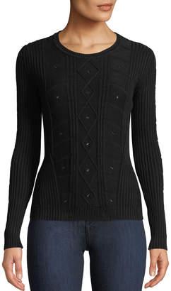 Tomas Maier Crewneck Long-Sleeve Cable-Knit Sweater w/ Grommet Trim
