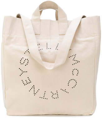 logo printed beach tote bag
