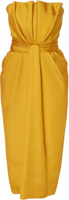 Brandon Maxwell Petal Front Satin Cocktail Dress