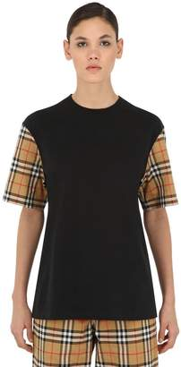 Burberry Serra Jersey T-Shirt W/ Check Sleeves