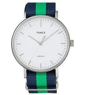 Timex Fairfield 41 Slv Case Blu/Grn Nylon Strap