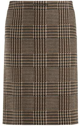 Balenciaga Tweed Pencil Skirt - Womens - Brown Multi