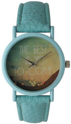 OLIVIA PRATT Olivia Pratt Womens Light Blue The Best Is Yet To Come Multi-Color Dial Light Blue Leather Strap Watch 15117