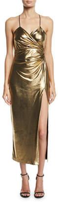 Bardot Aurelia Metallic Front-Split Cocktail Dress