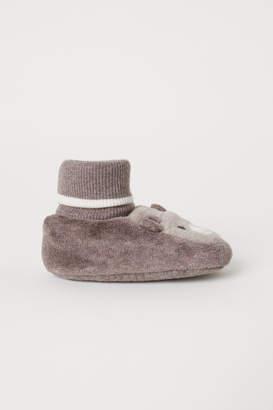 H&M Velour Slipper Socks - Brown