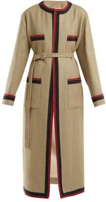 Gucci Round Neck Linen Blend Coat - Womens - Beige Multi
