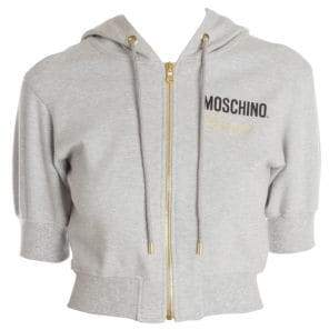 Moschino Short-Sleeve Hooded Cropped Sweater