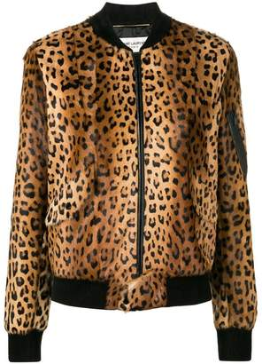 Saint Laurent leopard print bomber jacket
