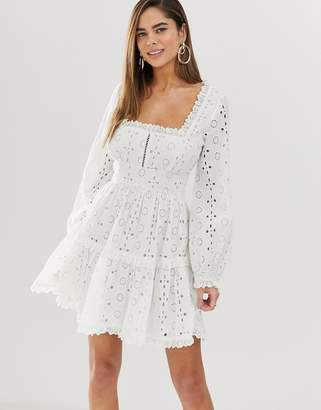 Asos Design DESIGN broderie square neck mini skater dress with lace trims