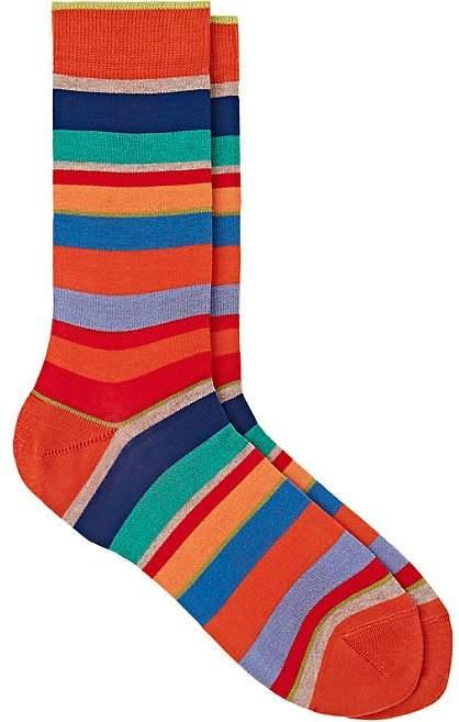 Men's Mixed-Striped Cotton-Blend Mid-Calf Socks