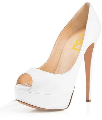 at Amazon Canada · FSJ Sexy Peep Toe Platform Pumps Stilettos High Heels  for Women Prom Shoes Leather Size 9.5 66b7f2aad8e6