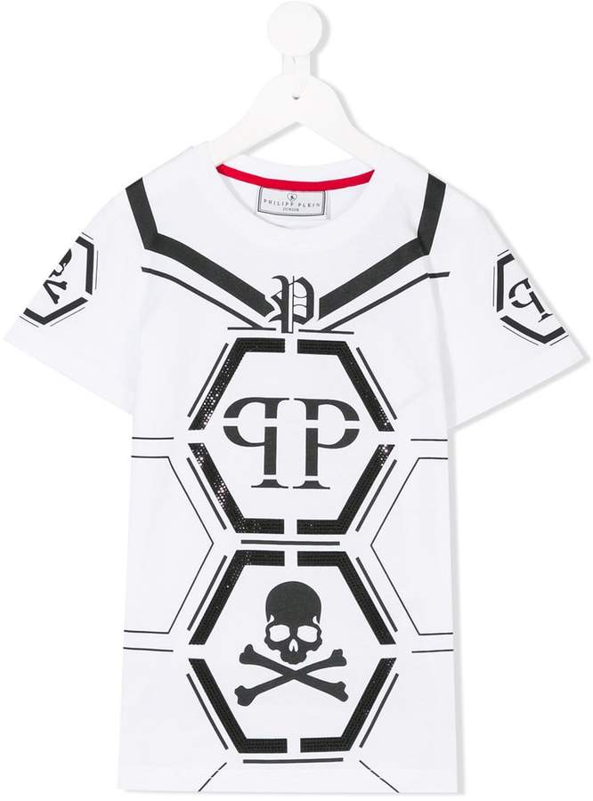 Buy Philipp Plein Junior logo skull T-shirt!