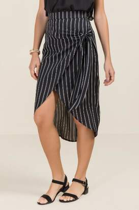 francesca's Whitley Striped Midi Skirt - Black