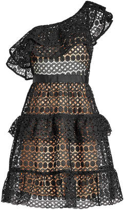 Self-Portrait Floral Chain Lace Asymmetric Mini Dress